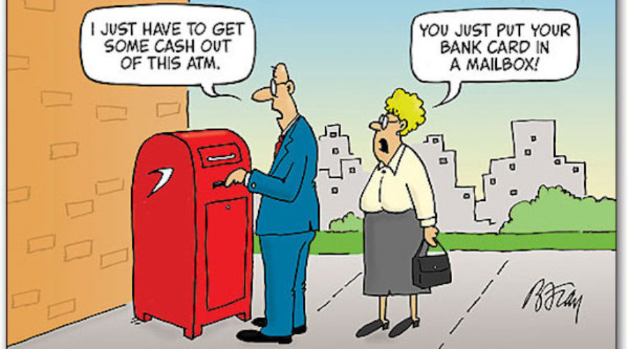 """From the """"Not for nothin' Department"""" Banks & Mail"""